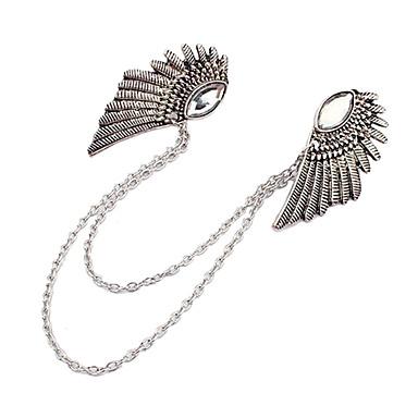 새로운 고딕 펑크 천사의 날개 옷 칼라 클립 청동 실버 체인 브로치 보석 핀은 선물 브로치