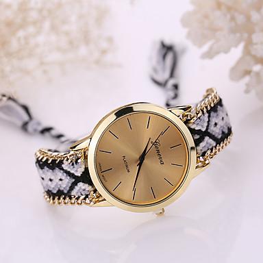 Kadın's Bilezik Saat Quartz Gündelik Saatler Kumaş Bant Analog Bohem Moda Çok-Renkli - Yeşil Pembe Açık Mavi Bir yıl Pil Ömrü / Tianqiu 377