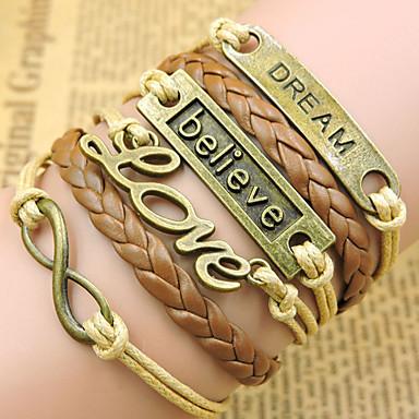 Heren Dames Armbanden met ketting en sluiting Wikkelarmbanden Vintage Armbanden Lederen armbanden Inspirerend Initial Jewelry Leder