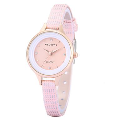REBIRTH 여성용 손목 시계 패션 시계 석영 모조 다이아몬드 PU 밴드 참 캐쥬얼 우아한 블랙 화이트 레드 브라운 핑크