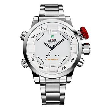 WEIDE Erkek Moda Saat Elbise Saat Spor Saat Quartz Japon Kuvartz Alarm Takvim Kronograf Su Resisdansı LED Çift Zaman Bölmeli Paslanmaz