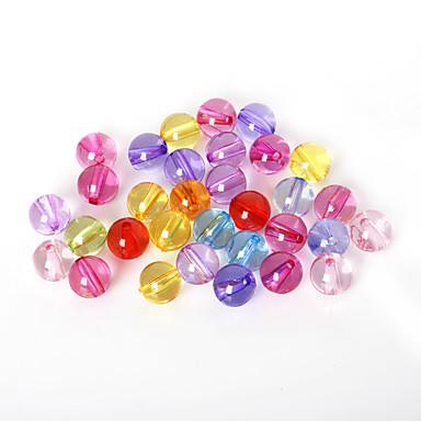 beadia válogatott színes akril gyöngyök 12mm sima kerek műanyag távtartó laza gyöngyök (50g / kb 48db)