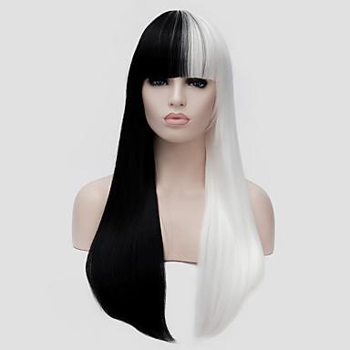 Peruki syntetyczne Prosto Z grzywką Gęstość Bez czepka Damskie Biały Karnawałowa Wig Halloween Wig bezosłonowe Peruki Długo Włosy