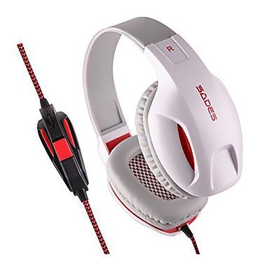 SADES SA701 귀 이상 머리띠 유선 헤드폰 동적 플라스틱 게임 이어폰 소음 차단 마이크 포함 볼륨 컨트롤 야광의 헤드폰