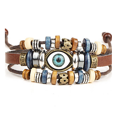 Men's Leather Bracelet Punk Leather Alloy Round Jewelry Christmas Gifts Daily Casual Costume Jewelry Black