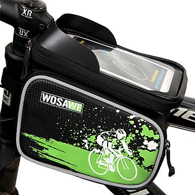 WOSAWE 휴대 전화 가방 자전거 프레임 백 6 인치 방수 반사 비 방지 방수 지퍼 착용 가능한 터치 스크린 전화/Iphone 충격방지 싸이클링 용 Iphone 8 Plus / 7 Plus / 6S Plus / 6 Plus 아이폰 엑스