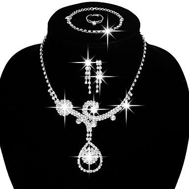 Női Ékszer készlet Menyasszonyi Ékszerek Divat jelmez ékszerek Réz Strassz Ezüstözött Nyakláncok Naušnice Gyűrűk Karkötő Kompatibilitás
