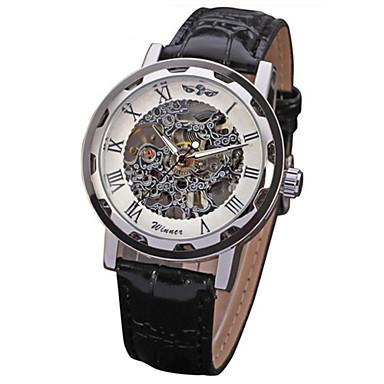 levne Pánské-WINNER Pánské Hodinky s lebkou Náramkové hodinky mechanické hodinky Mechanické manuální natahování Z umělé kůže Černá S dutým gravírováním Cool Analogové Růžové zlato Černá / Stříbrná Bílá / Stříbrná