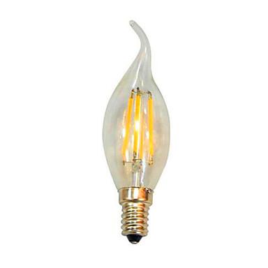 100lm E14 Żarówki LED świeczki C35 4 Koraliki LED COB Dekoracyjna Ciepła biel Zimna biel 220-240V