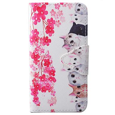 용 Samsung Galaxy S7 Edge 지갑 / 카드 홀더 / 스탠드 / 플립 / 엠보싱 텍스쳐 / 패턴 / 마그네틱 케이스 풀 바디 케이스 고양이 하드 인조 가죽 Samsung S7 edge / S7