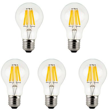 5 stuks 800 lm E26/E27 LED-gloeilampen A60 (A19) 8 leds COB Decoratief Warm wit Koel wit AC 85-265V