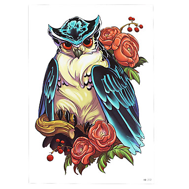 1pc Colored Drawing Owl Rose Flower Tattoo Design Temporary