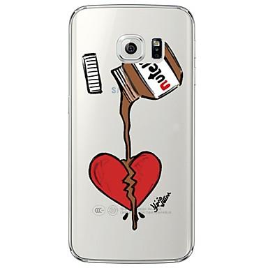 Case Kompatibilitás Samsung Galaxy Samsung Galaxy S7 Edge Átlátszó Minta Fekete tok Szív Puha TPU mert S7 edge S7 S6 edge plus S6 edge S6