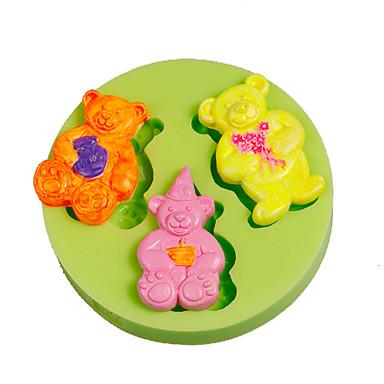 3 귀여운 곰 실리콘 곰팡이 케이크 장식 수공예 도구 폴리머 점토 fimo 무작위로 색상 만들기