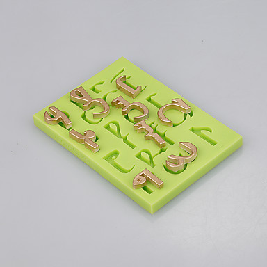 베이킹 매트 실리콘 편지 퐁당 케이크 장식 도구 식품 학년 금형 색상 랜덤