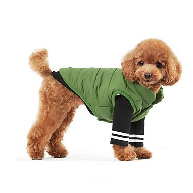 강아지 맨투맨 스웻티셔츠 강아지 의류 컬러 블럭 그린 블루 면 코스츔 애완 동물 남성용 여성용 따뜻함 유지 스포츠