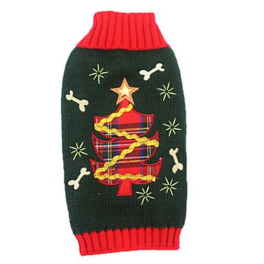 고양이 강아지 스웨터 의상 강아지 의류 아크릴 섬유 겨울 귀여운 휴일 크리스마스 꽃 / 식물 블랙 애완 동물