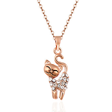 cheap Necklaces-Women's Crystal Pendant Necklace Crossover Cat Animal Ladies Personalized Luxury Tassel Crystal Rhinestone Alloy Gold Silver Necklace Jewelry For Wedding Party Daily Casual Sports