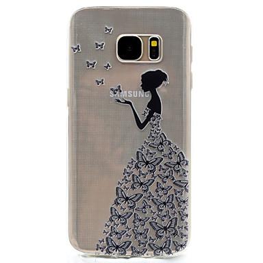 Case Kompatibilitás Samsung Galaxy S7 edge S7 Átlátszó Minta Hátlap Szexi lány Puha TPU mert S7 edge S7 S5 Mini S5