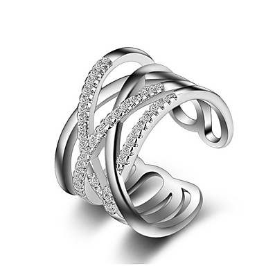 Women's Crystal Synthetic Diamond Crossover Band Ring Knuckle Ring - Rose Gold, Sterling Silver, Imitation Diamond Cross, Love Unique Design, Fashion One Size Silver / Golden For Wedding Party Gift
