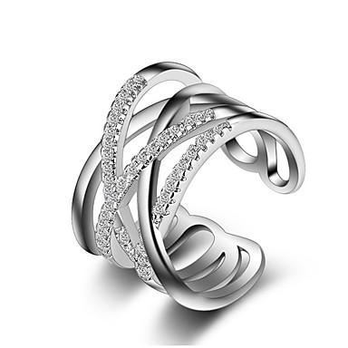 Női Karikagyűrűk Ujjperc gyűrű Kristály utánzat Diamond Egyedi Szerelem Divat Crossover jelmez ékszerek Ezüst Hamis gyémánt Cross Shape