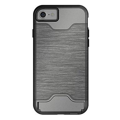 Kompatibilitás iPhone X iPhone 8 iPhone 7 iPhone 7 Plus tokok Kártyatartó Állvánnyal Hátlap Case Tömör szín Kemény PC mert Apple iPhone X