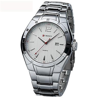 levne Pánské-CURREN Pánské Sportovní hodinky Vojenské hodinky Náramkové hodinky Křemenný Nerez Stříbro 30 m Voděodolné Cool Analogové Luxus Vintage Na běžné nošení Módní Hodinky k šatům - Černá / Zlatá Bíl