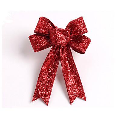 csillogó csillogó karácsonyfa íj dekoráció 13cm ruhával 5 füle orament virágok íj csomót házibuli esküvői dekoráció