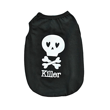 cheap Dog Clothing & Accessories-Cat Dog Shirt / T-Shirt Dog Clothes Skull Black Cotton Costume For Spring &  Fall Summer Men's Women's Casual / Daily Halloween
