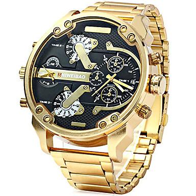3efe9f3c736b Hombre Reloj Deportivo Reloj Militar Reloj de Pulsera Cuarzo Acero  Inoxidable Negro   Marrón   Dorado