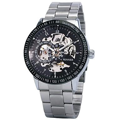 저렴한 남성용 시계-WINNER 남성용 스켈레톤 시계 손목 시계 기계식 시계 오토메틱 셀프-윈딩 스테인레스 스틸 블랙 / 실버 30 m 방수 중공 판화 야광의 아날로그 사치 빈티지 - 블랙 골드 / 블랙 실버 / 블랙 / 타키 미터