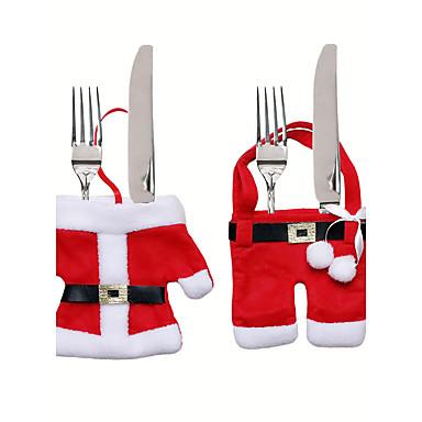 크리스마스 테이블 장식 나이프와 포크 가방 크리스마스 칼은 작은 옷 weihnachten dekoration입니다 선물 세트
