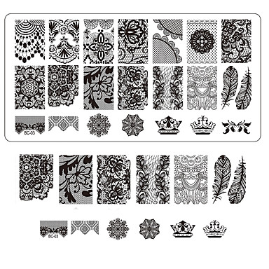 csipke nyomtatás köröm bélyegzés dekor diy manikűr bélyegzés lemezek körmök sablonok szalonok szerszámok bc03