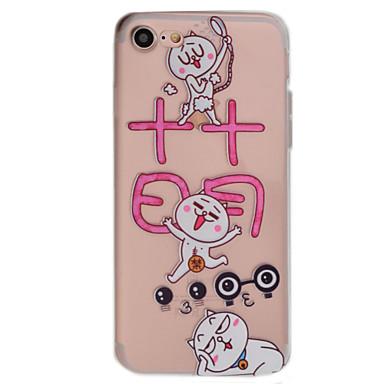 용 투명 / 패턴 케이스 뒷면 커버 케이스 고양이 소프트 TPU Apple 아이폰 7 플러스 / 아이폰 (7) / iPhone 6s Plus/6 Plus / iPhone 6s/6