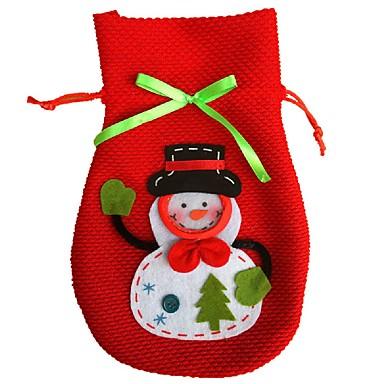 새로운 만화 크리스마스 눈사람 사탕 가방 핸드백 홈 파티 장식 선물 가방 스토리지 가방 레드 와인 병 커버 가방