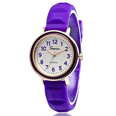 Xu™ Damskie Modny Zegarek na bransoletce Kwarcowy Silikon Pasmo Postarzane Na co dzieńCzarny Biały Czerwony Pomarańczowy Brązowy Różowy