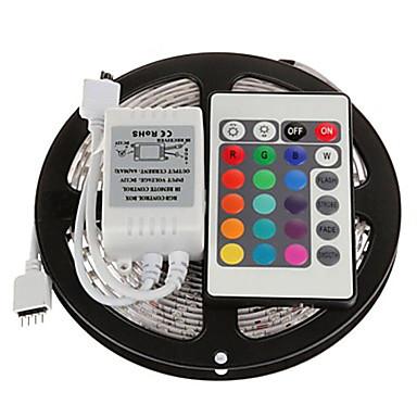 5m Işık Setleri 300 LED'ler 3528 SMD RGB Uzaktan Kontrol / Kesilebilir / Kısılabilir 12 V / Bağlanabilir / Kendinden Yapışkanlı / Renk Değiştiren / IP44