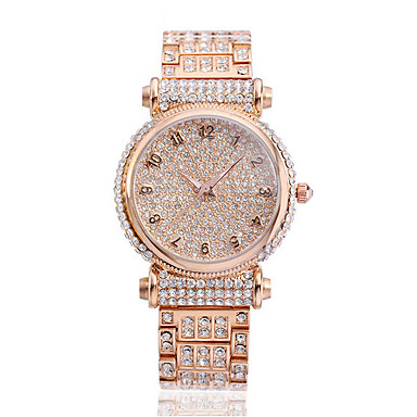 여성용 패션 시계 팔찌 시계 캐쥬얼 시계 페이브 시계 석영 방수 라인석 스테인레스 스틸 밴드 스파클 캐쥬얼 골드
