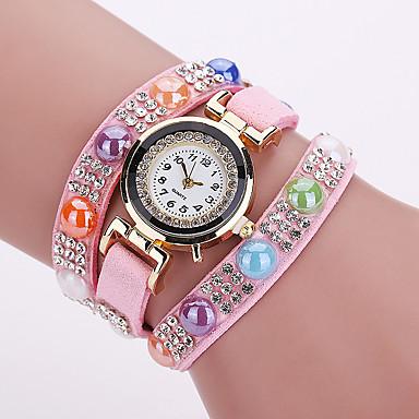 Kadın's Bilezik Saat Moda Saat Quartz PU Bant Vintage Günlük Siyah Beyaz Mavi Kırmızı Kahverengi Yeşil Pembe