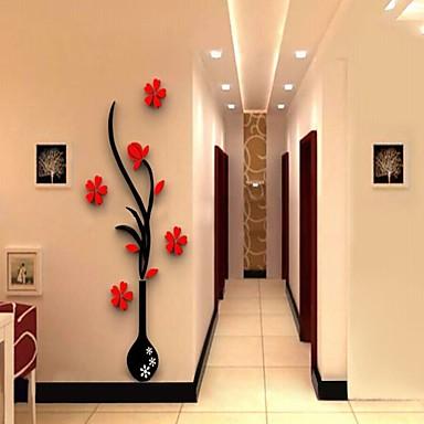 Botanik Duvar Etiketler 3D Duvar Çıkartması Dekoratif Duvar Çıkartmaları,Vinil Malzeme Çıkarılabilir Ev dekorasyonu Duvar Çıkartması