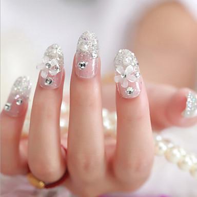24szt Oblubienicy sztuczne paznokcie słodki plaster kawałek gwoździa sztuki zakończeniu paznokci Produkt srebrny kwiat Nail Art kawałek