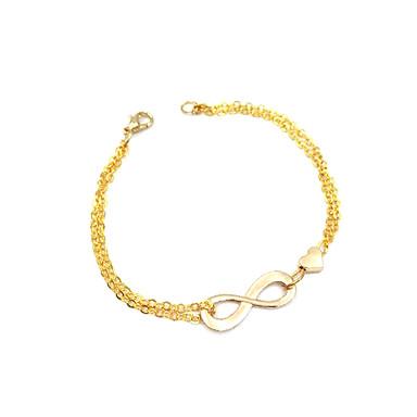 Kadın's Zincir & Halka Bileklikler Tılsım Bileklikler - Kalp, Aşk, Sonsuzluk Bayan, Eşsiz Tasarım, Temel, Moda Bilezikler Mücevher Altın / Gümüş Uyumluluk Parti Hediye Günlük