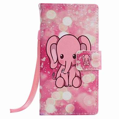 화웨이 p9 라이트 p8 라이트 핑크 코끼리 그림 pu 전화 케이스에 대한