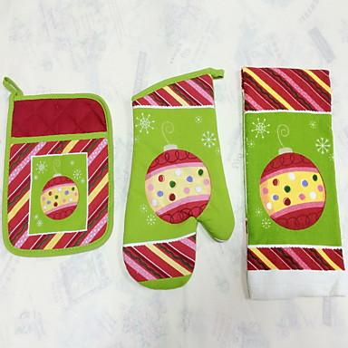 1pc Pocket Mitten, 1pc Oven Glove, 1pc Towel Textil Sütőeszköz készletek Cake / Csokoládé / Kenyér / Cookie / Mert Cupcake / Pie / Pizza