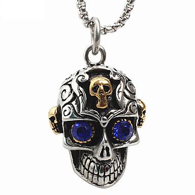 męska styl punk uroku wisiorek naszyjnik ze stali nierdzewnej 316L retro rzeźba kształt czaszki niebieski gem biżuterię