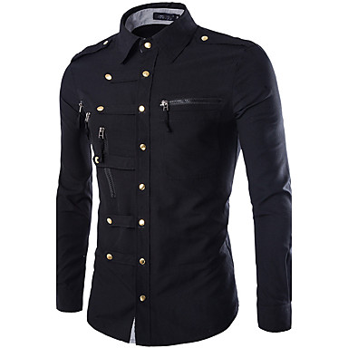 Men's Military Cotton Slim Shirt - Solid Colored Basic Classic Collar / Long Sleeve / Spring / Fall