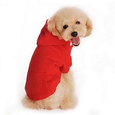 Pisici Câine Hanorace cu Glugă Îmbrăcăminte Câini Mată Negru Portocaliu Gri Rosu Gri/Roșu Bumbac Costume Pentru animale de companie