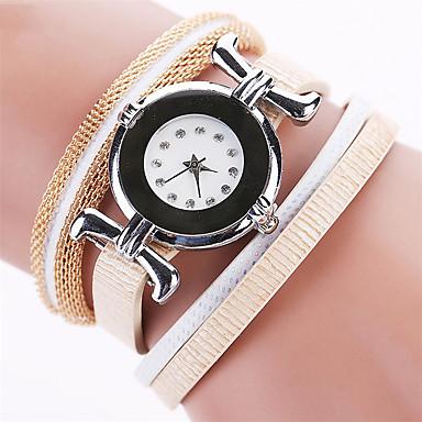 Bayanların Moda Saat Bilek Saati Bilezik Saat Renkli imitasyon Pırlanta Yapay Elmas Quartz PU BantEski Tip Bohem İhtişam Halhal Havalı
