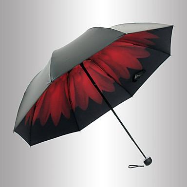 Czerwony / Czarny Parasolka Składana Parasol przeciwsłoneczny Plastic Chodzik