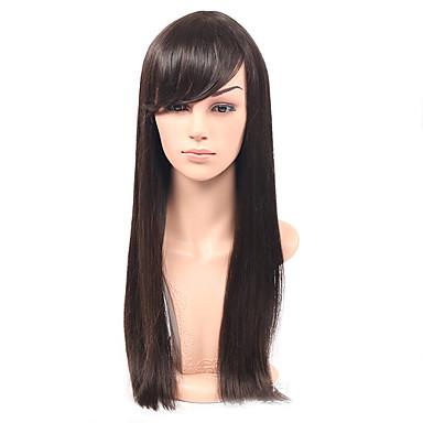 Włosy syntetyczne Peruki Prosta Z grzywką Karnawałowa Wig Halloween Wig Peruka naturalna Długo Czarny